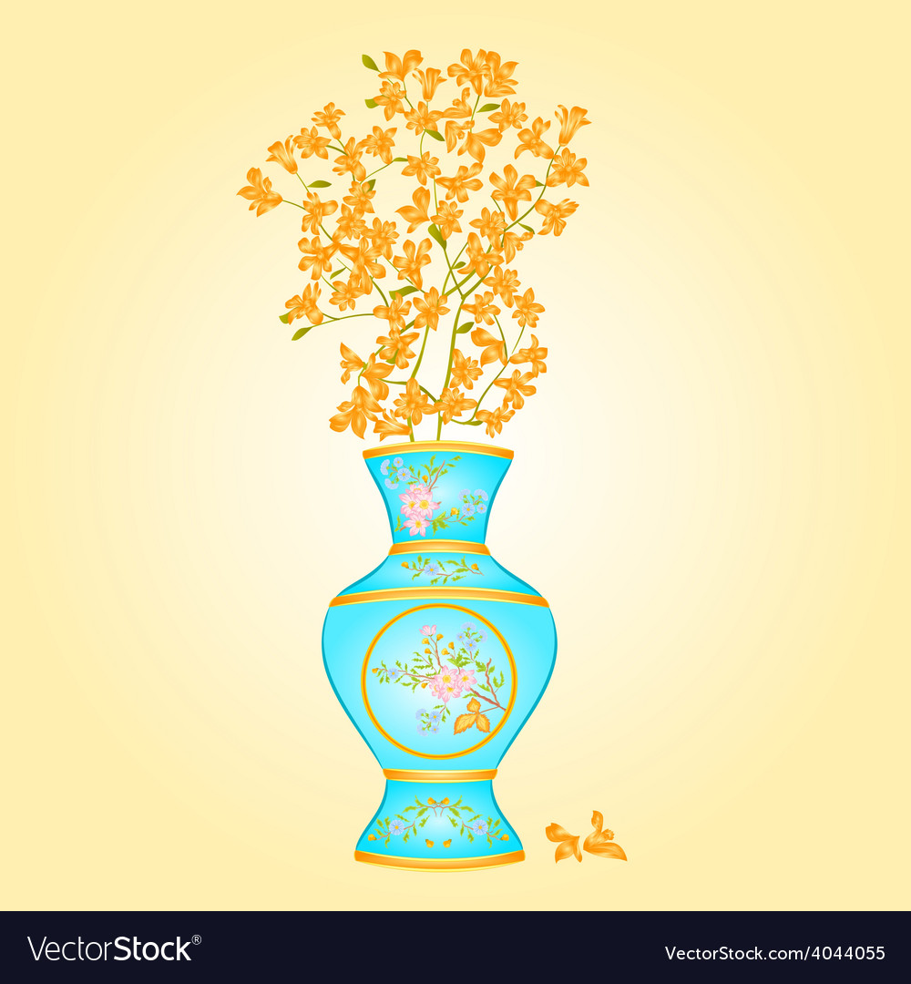 Azure vase with spring flowers forsythia vector | Price: 1 Credit (USD $1)