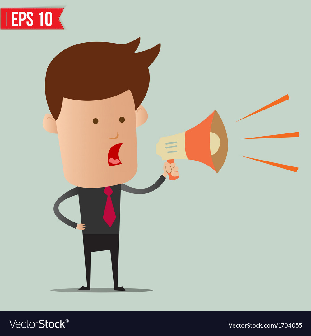 Business man speak on the amplifer - - eps10 vector | Price: 1 Credit (USD $1)