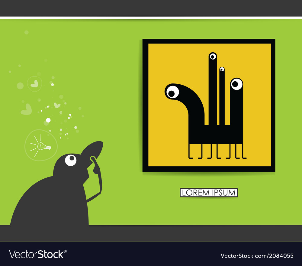 Character in museum with monster in frame vector | Price: 1 Credit (USD $1)
