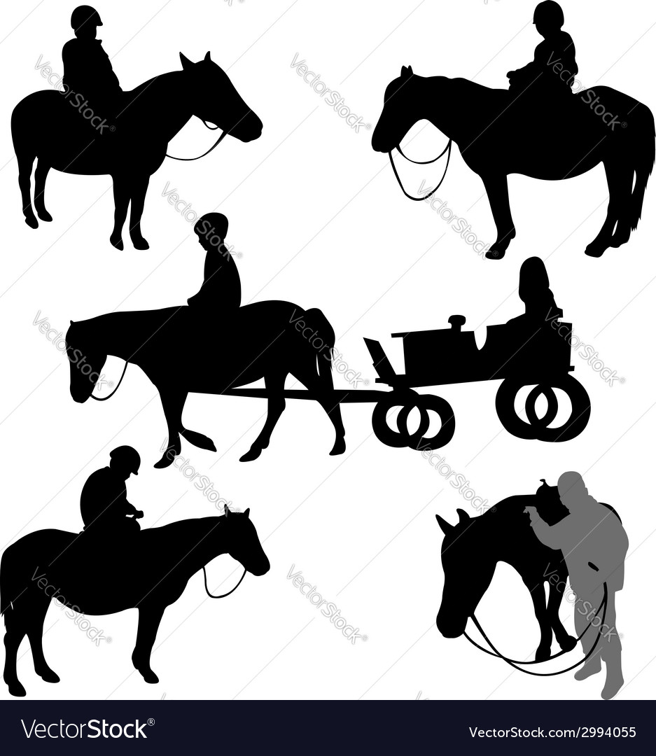 Children riding horses vector | Price: 1 Credit (USD $1)