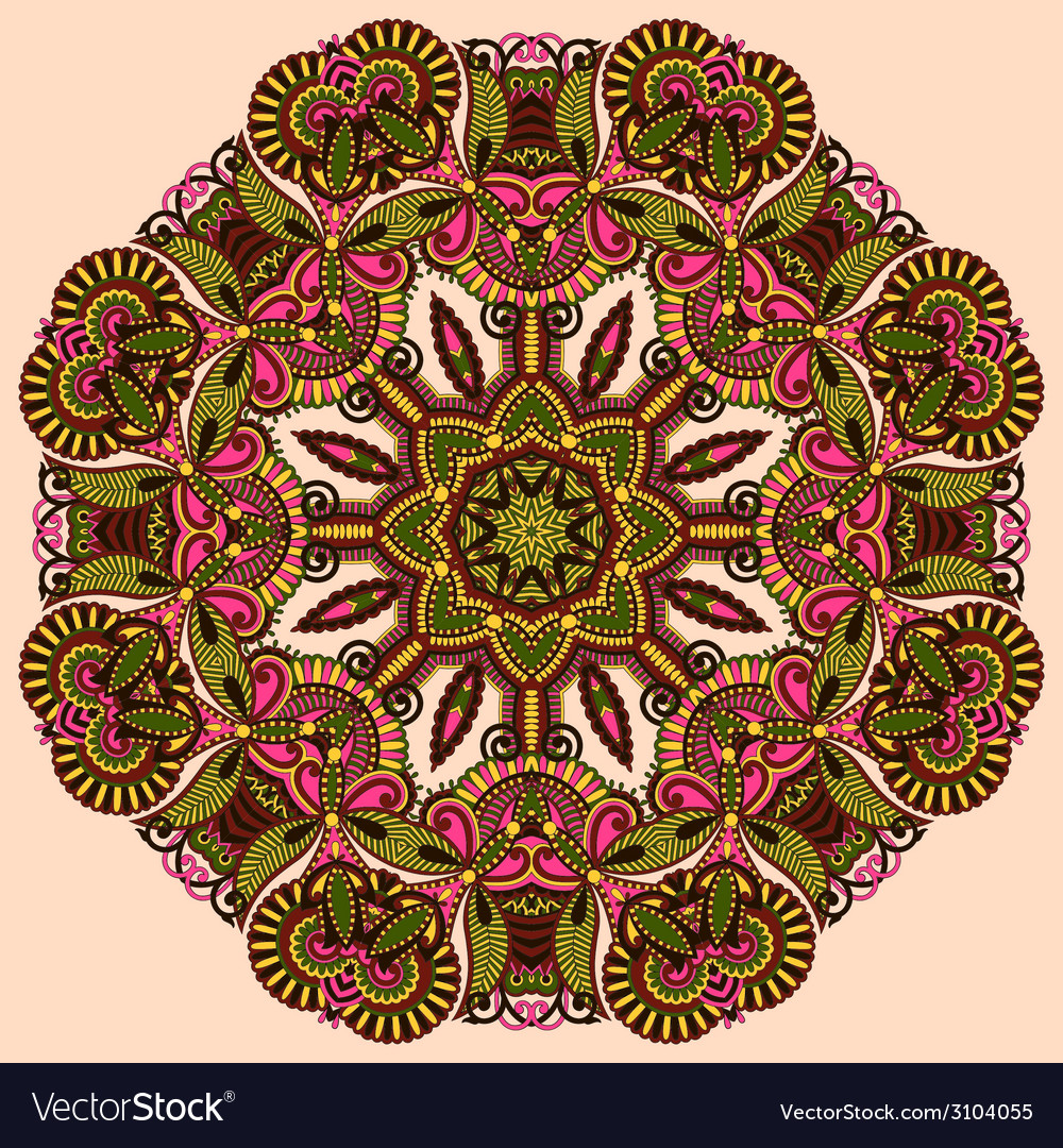Circle lace ornament round ornamental pattern vector | Price: 1 Credit (USD $1)