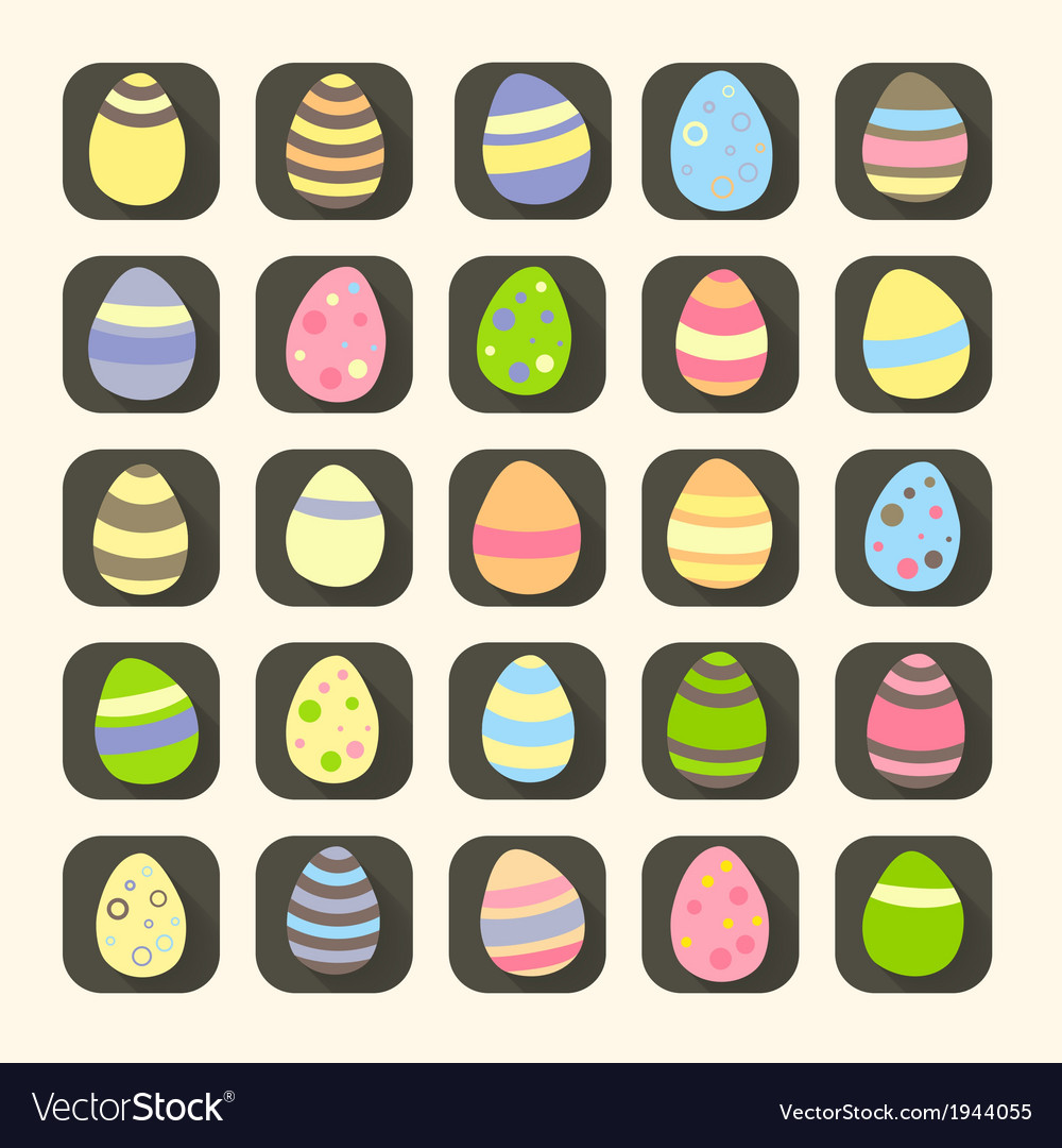 Colorful easter eggs icons symbols vector | Price: 1 Credit (USD $1)