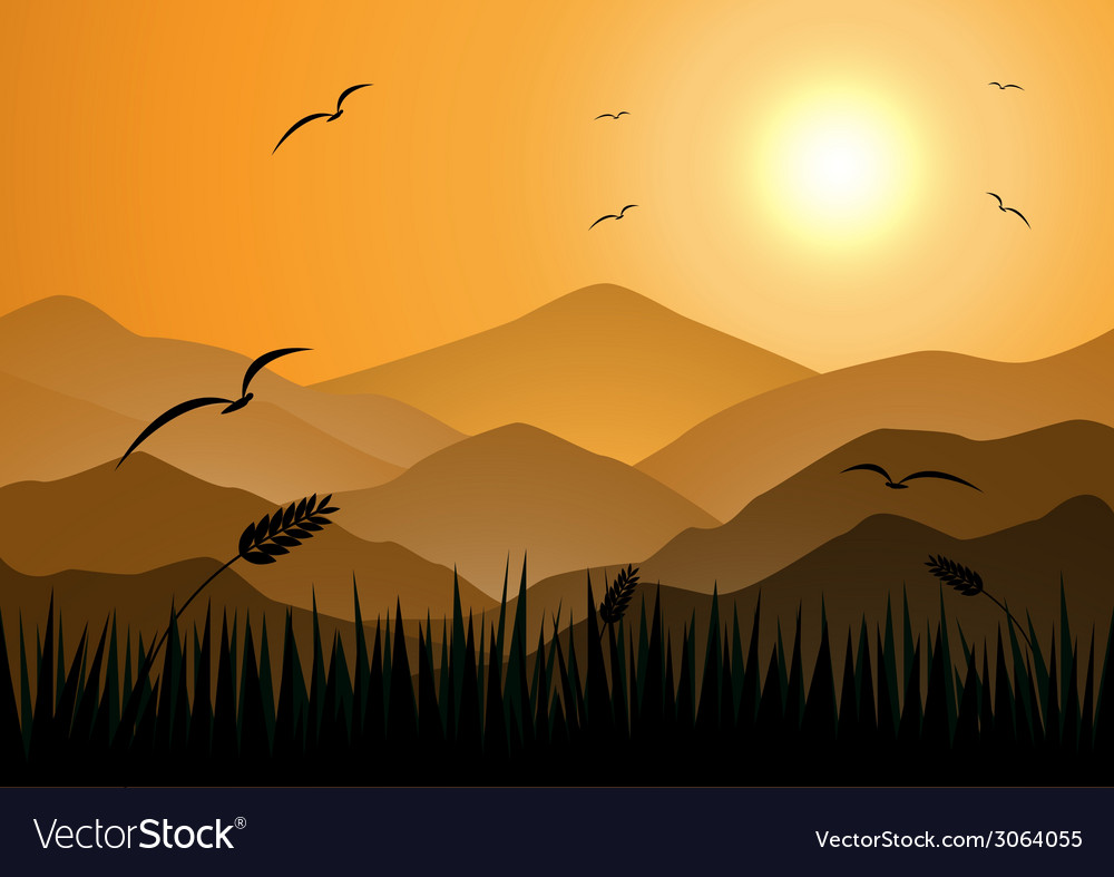 Evening mountains with grass vector | Price: 1 Credit (USD $1)