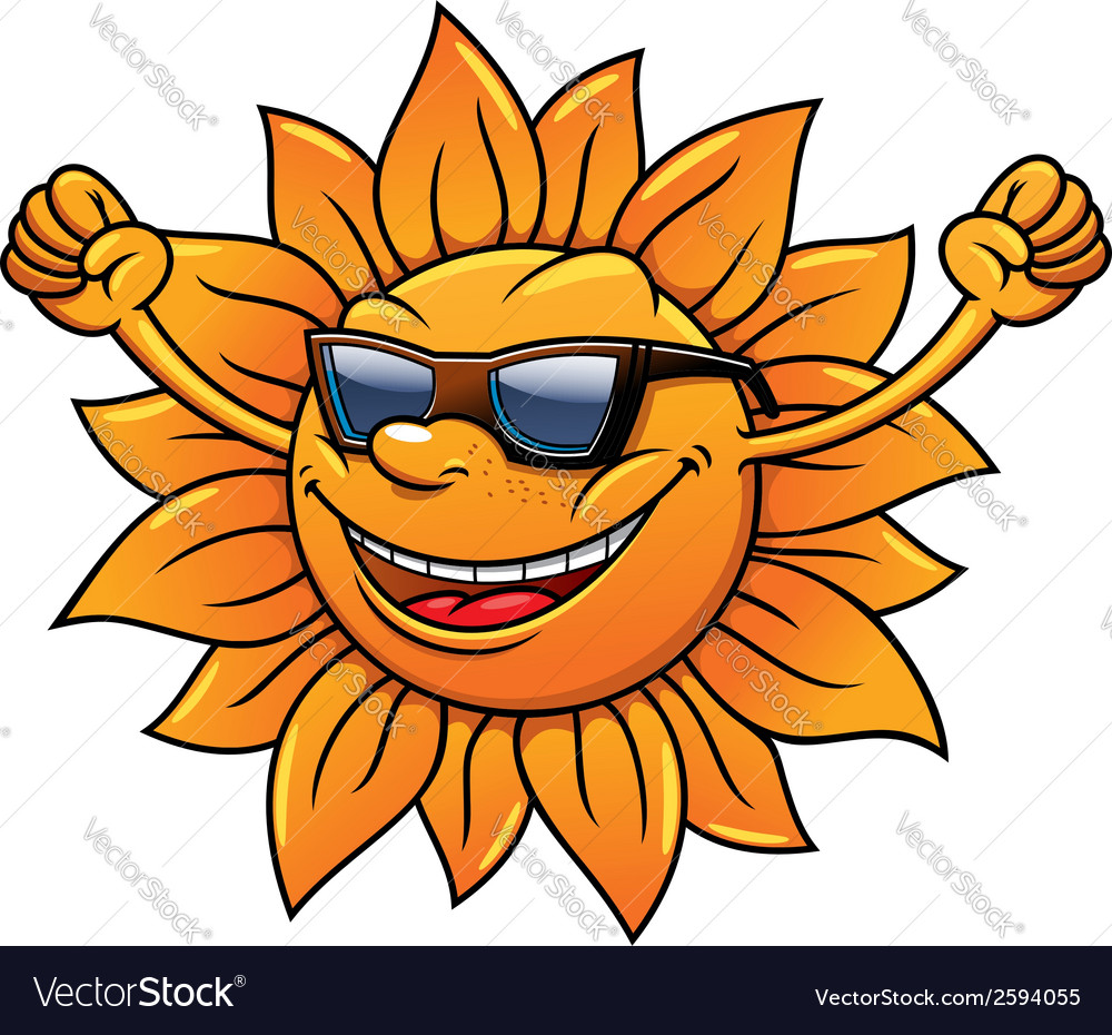 Fun loving tropical sun in sunglasses vector | Price: 1 Credit (USD $1)