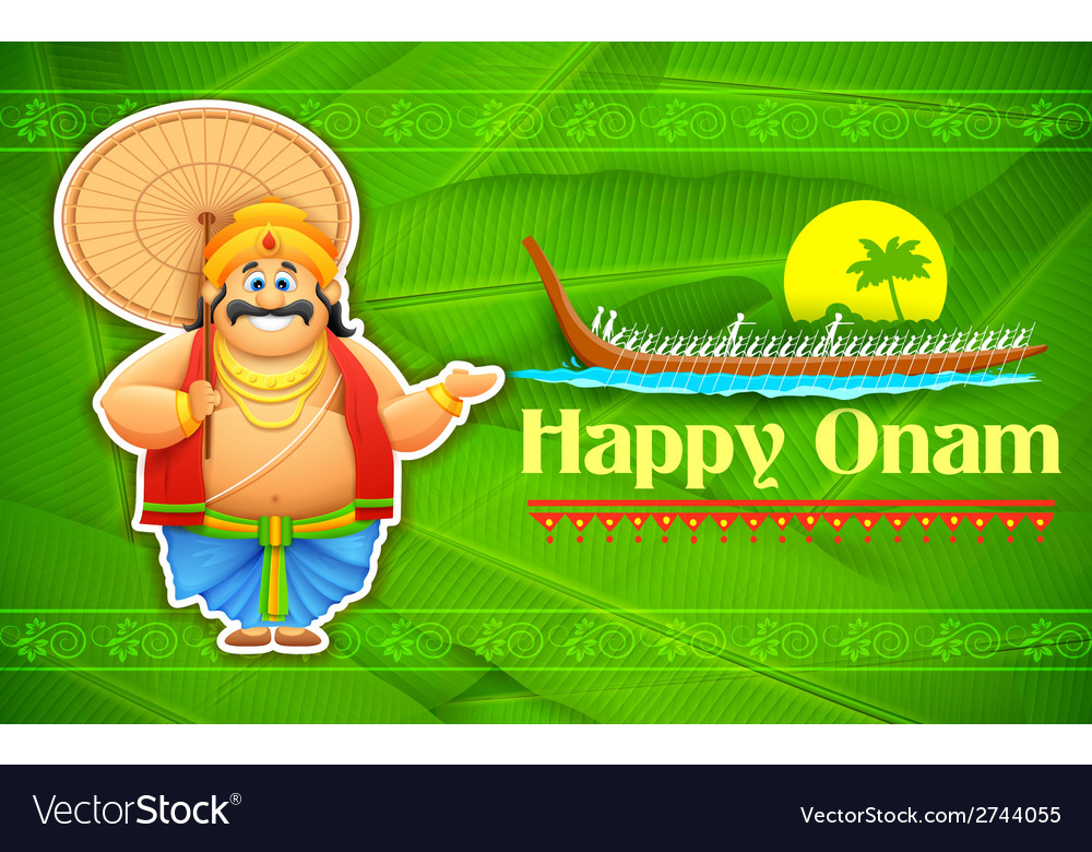 King mahabali enjoying boat race of kerla on onam vector | Price: 1 Credit (USD $1)