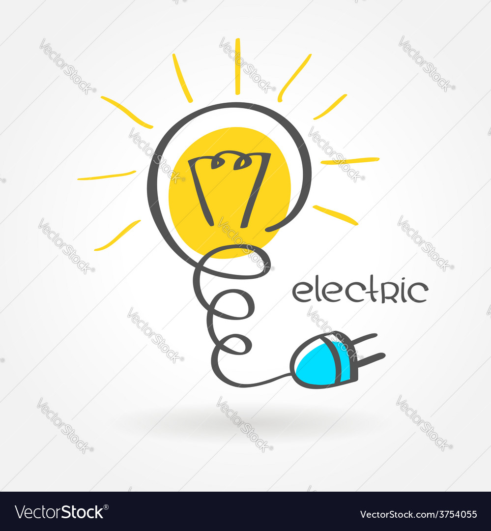 Lamp electric lightbulb sketch simple color vector | Price: 1 Credit (USD $1)