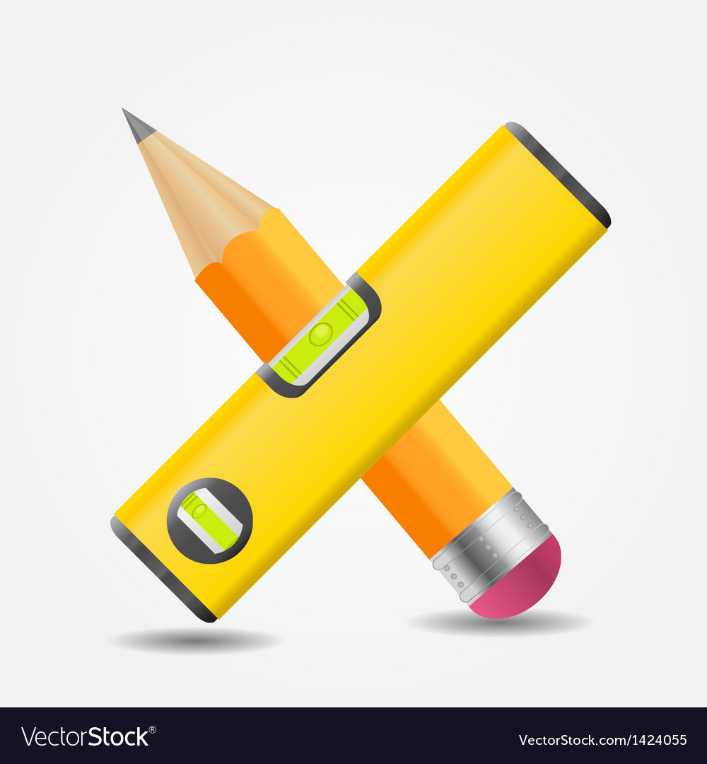 Level and yellow pencil icon vector | Price: 1 Credit (USD $1)