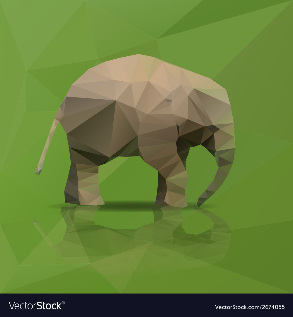 Little elephant from triangles walking eps10 vector | Price: 1 Credit (USD $1)