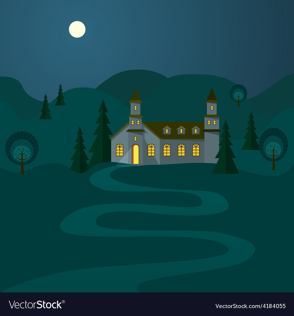 Night landscape with hospitable house vector | Price: 1 Credit (USD $1)