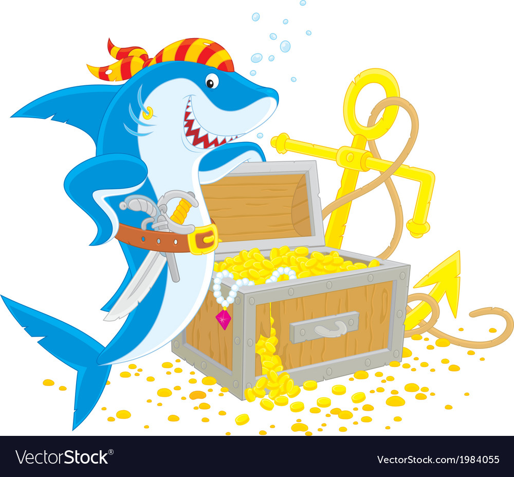 Pirate shark with a treasure chest vector | Price: 1 Credit (USD $1)