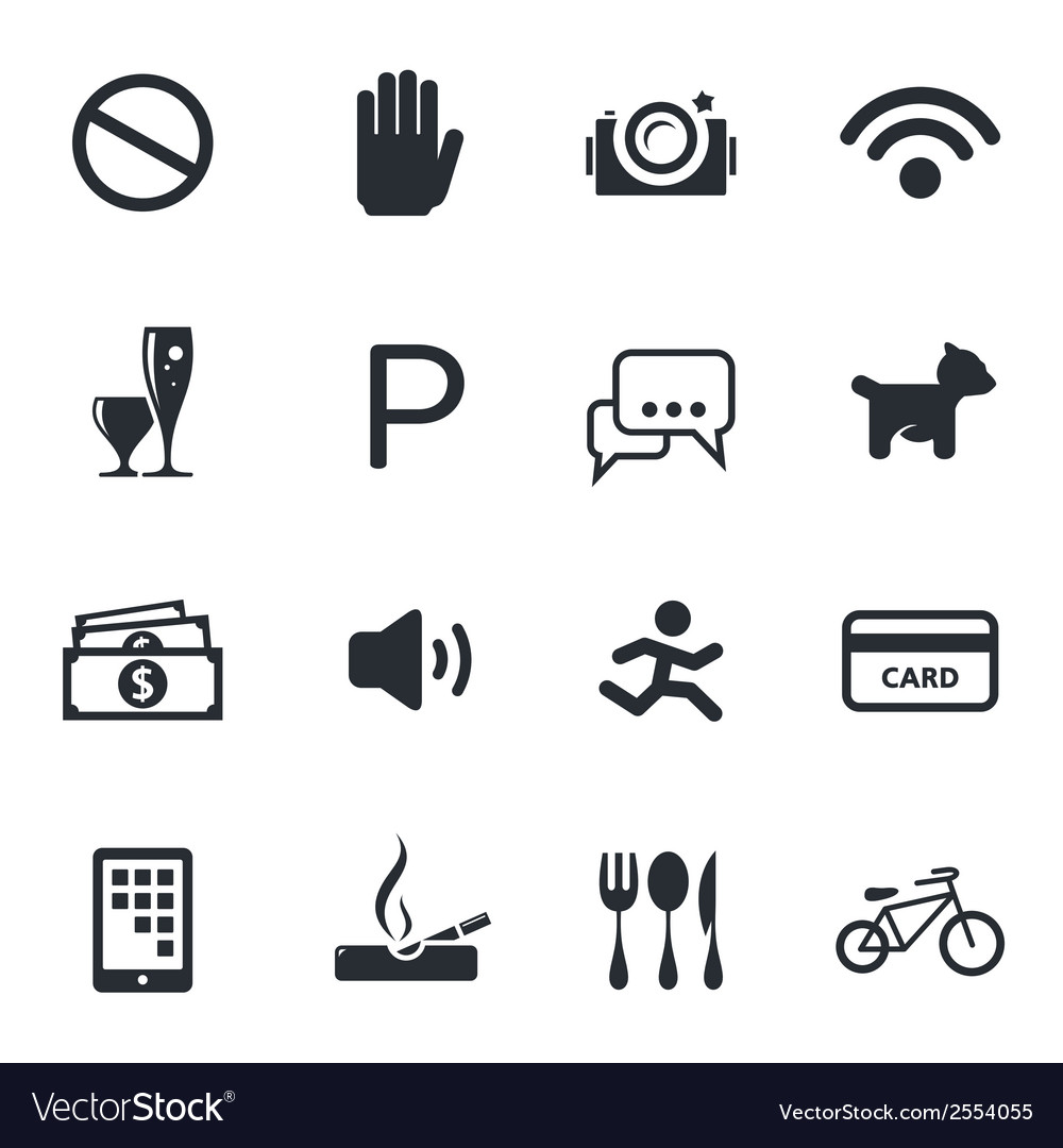 Prohibition icons set vector | Price: 1 Credit (USD $1)