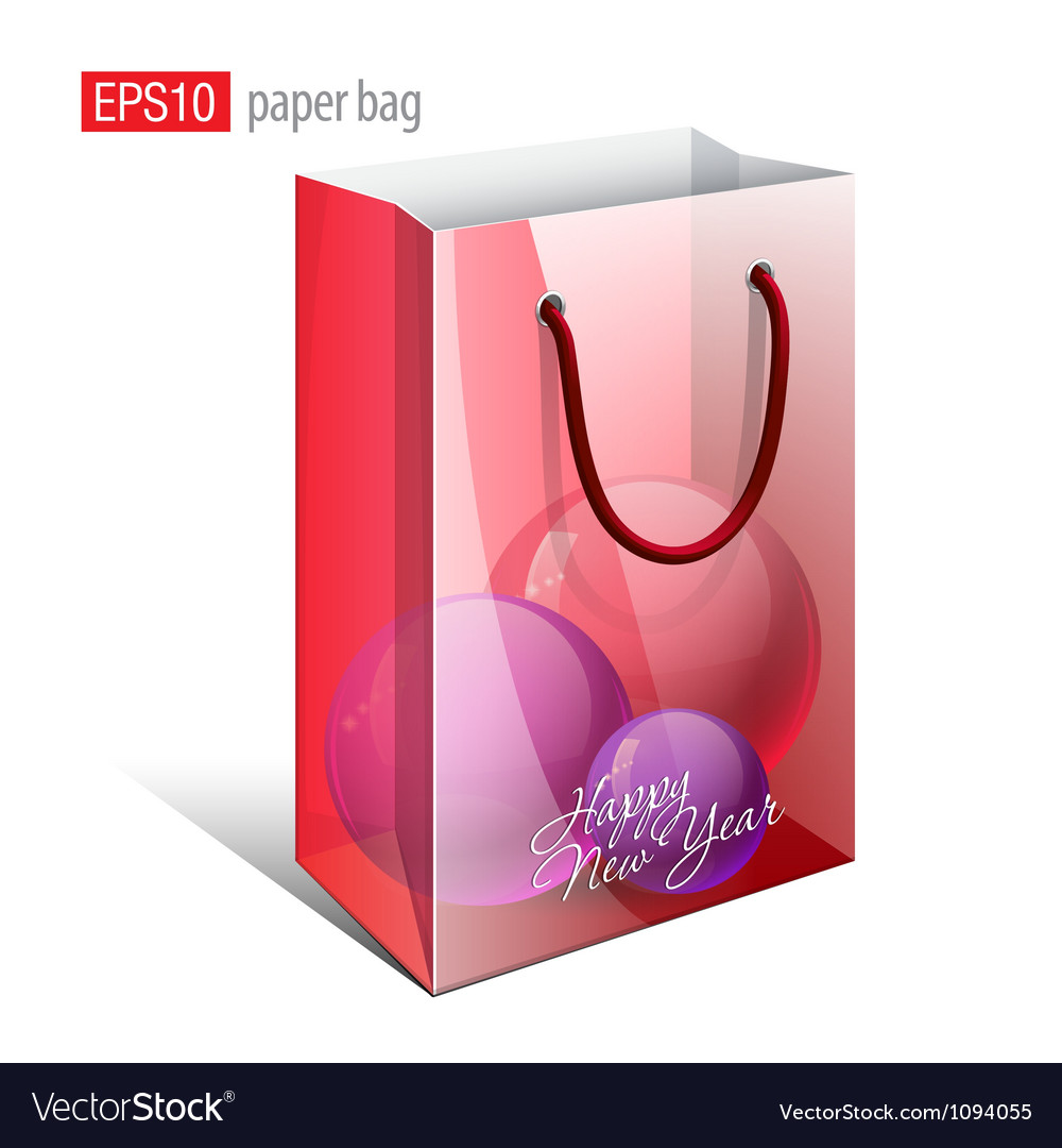 Red paper bag with a picture vector | Price: 1 Credit (USD $1)