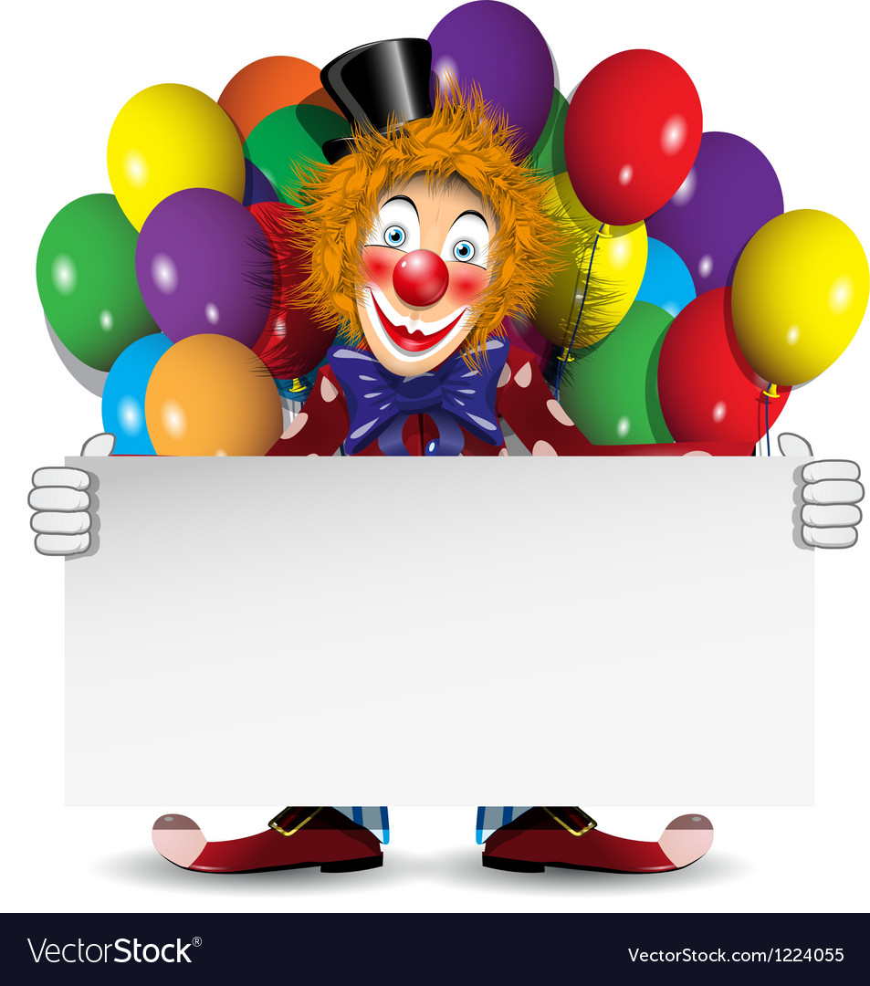 Redhead clown with a banner and balloons vector | Price: 3 Credit (USD $3)