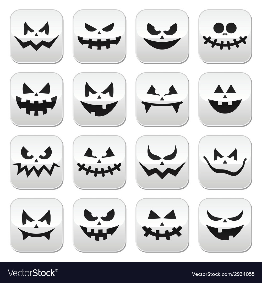Scary halloween pumpkin faces buttons set vector | Price: 1 Credit (USD $1)