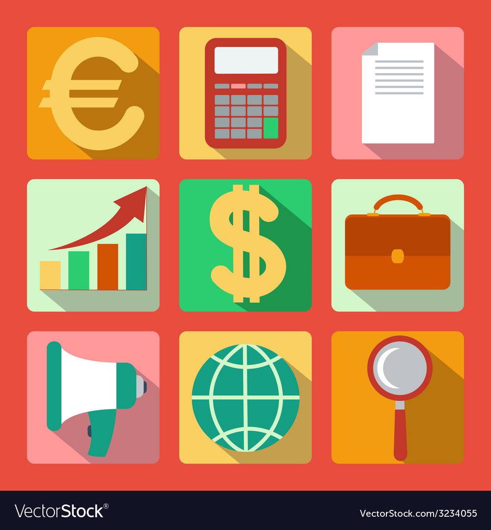 Set of 9 analysis marketing colorful square icons vector   Price: 1 Credit (USD $1)