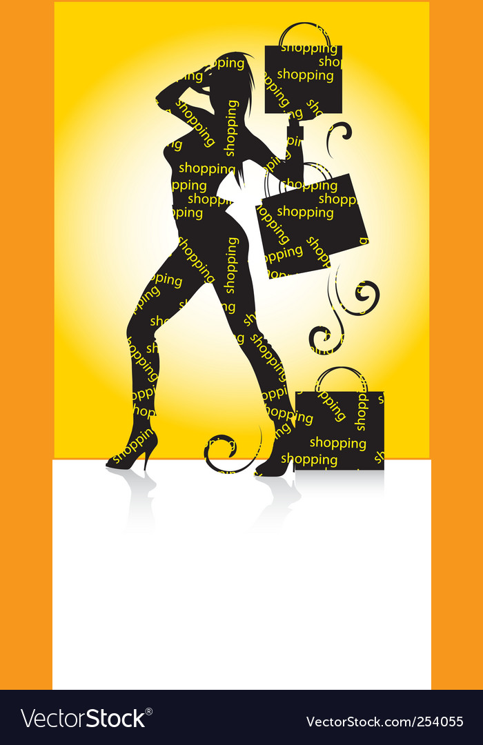 Shopping girl silhouette vector | Price: 1 Credit (USD $1)