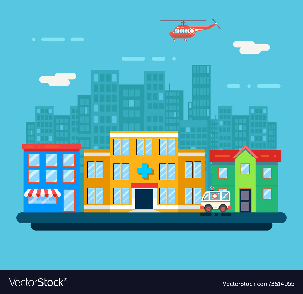 Urban landscape hospital shop residential house vector | Price: 1 Credit (USD $1)