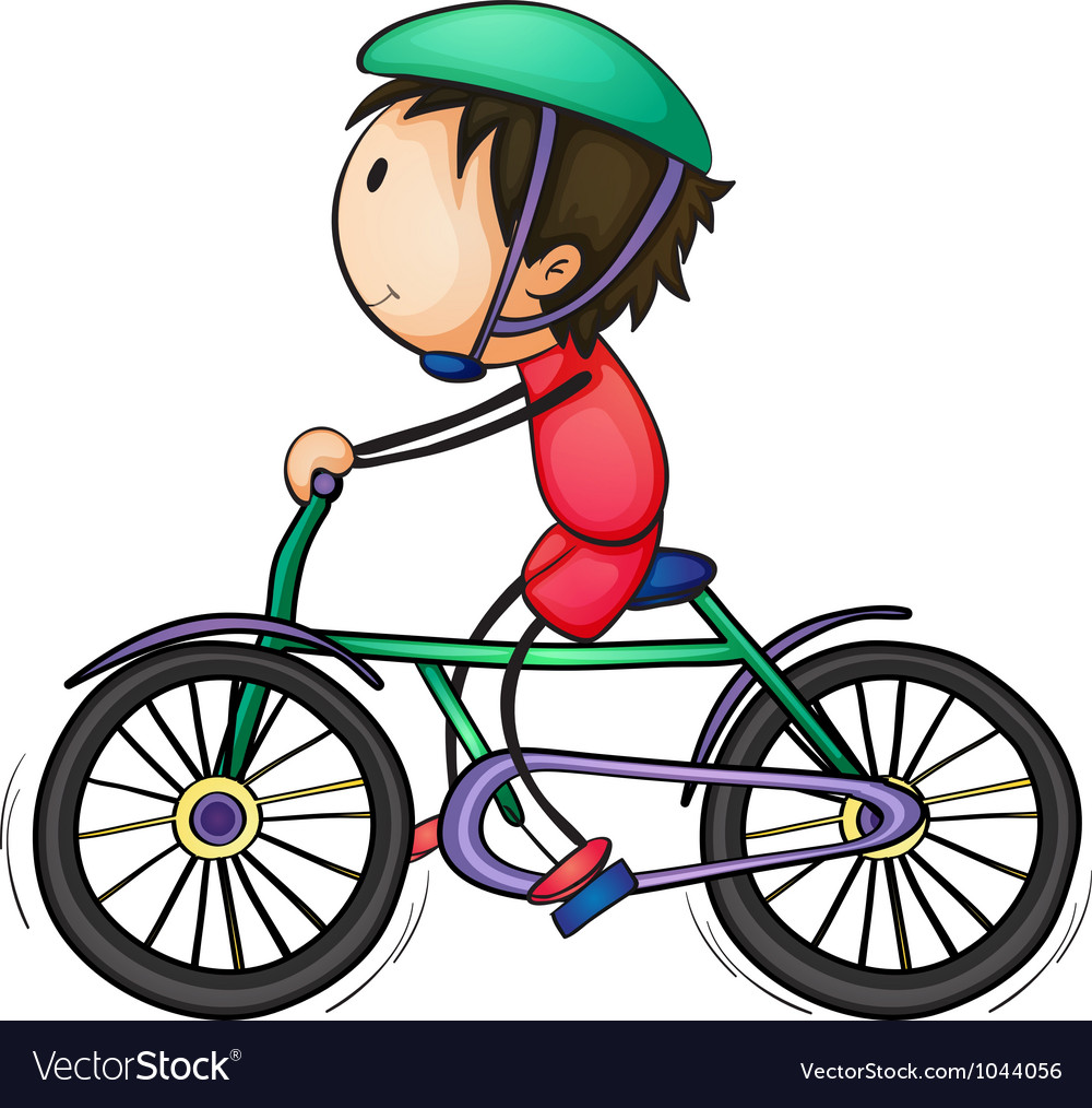 Boy and bicycle vector