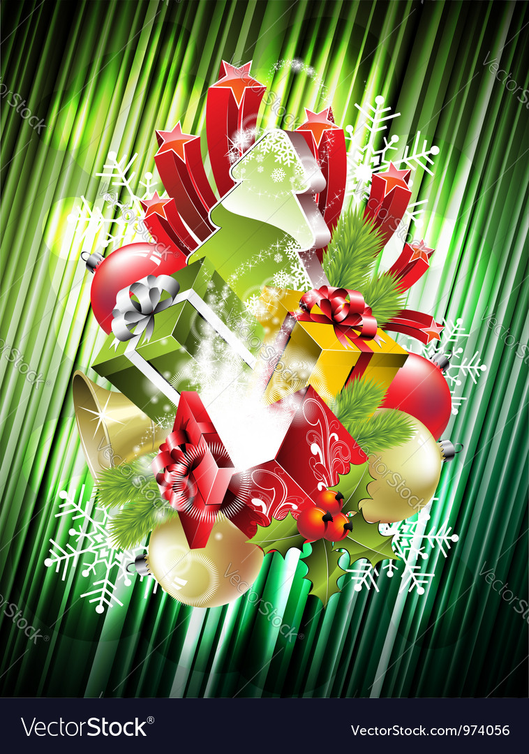 Christmas with magic gift boxes vector | Price: 3 Credit (USD $3)