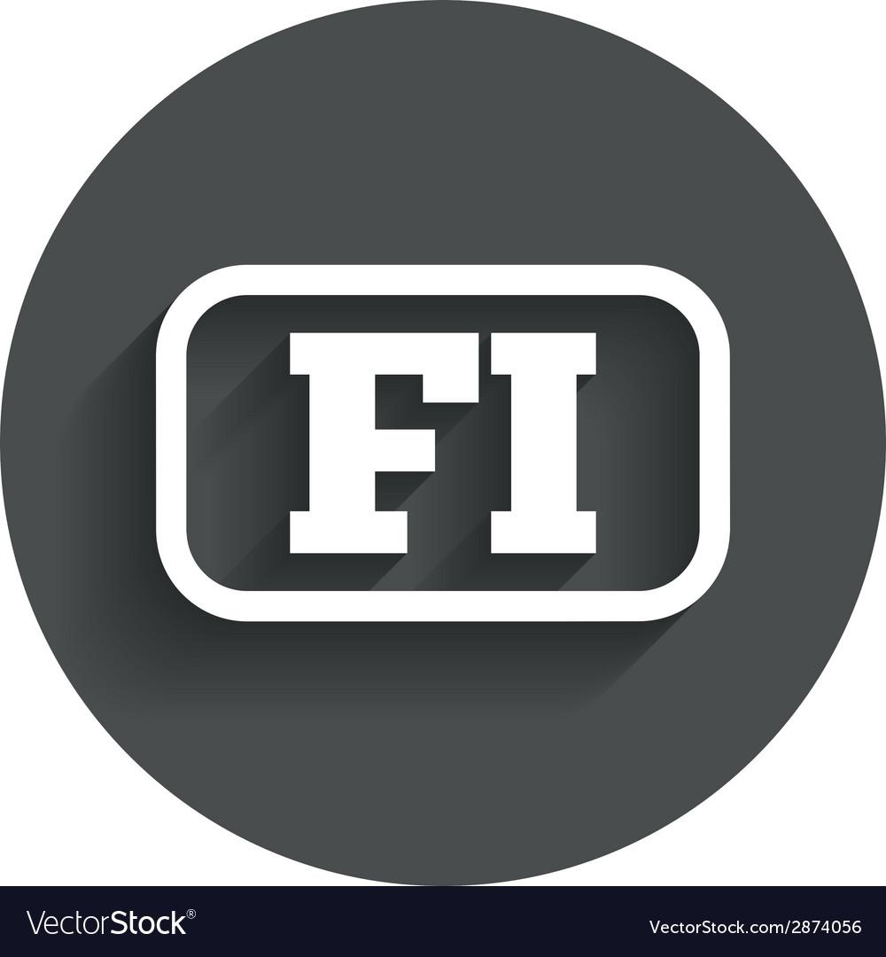 Finnish language sign icon fi translation vector | Price: 1 Credit (USD $1)