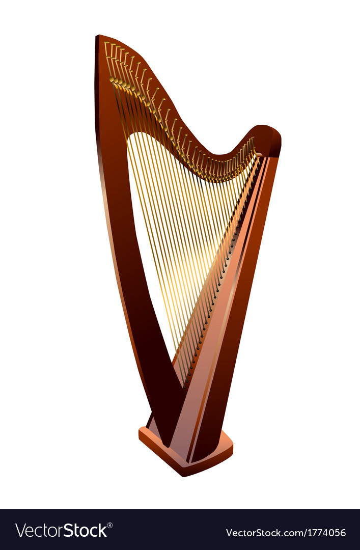 Harp on white vector | Price: 1 Credit (USD $1)
