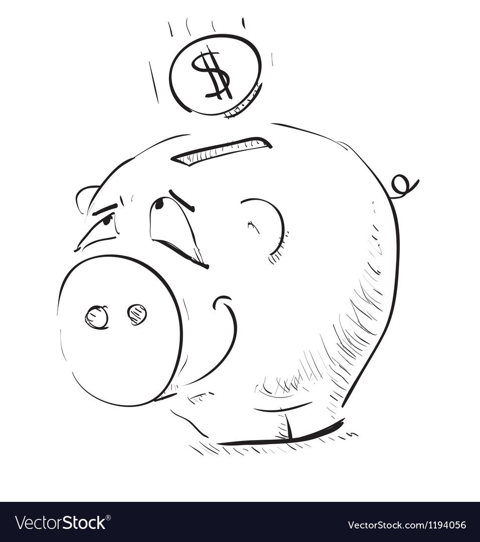 Money cartoon pig money box sketch icon vector | Price: 1 Credit (USD $1)