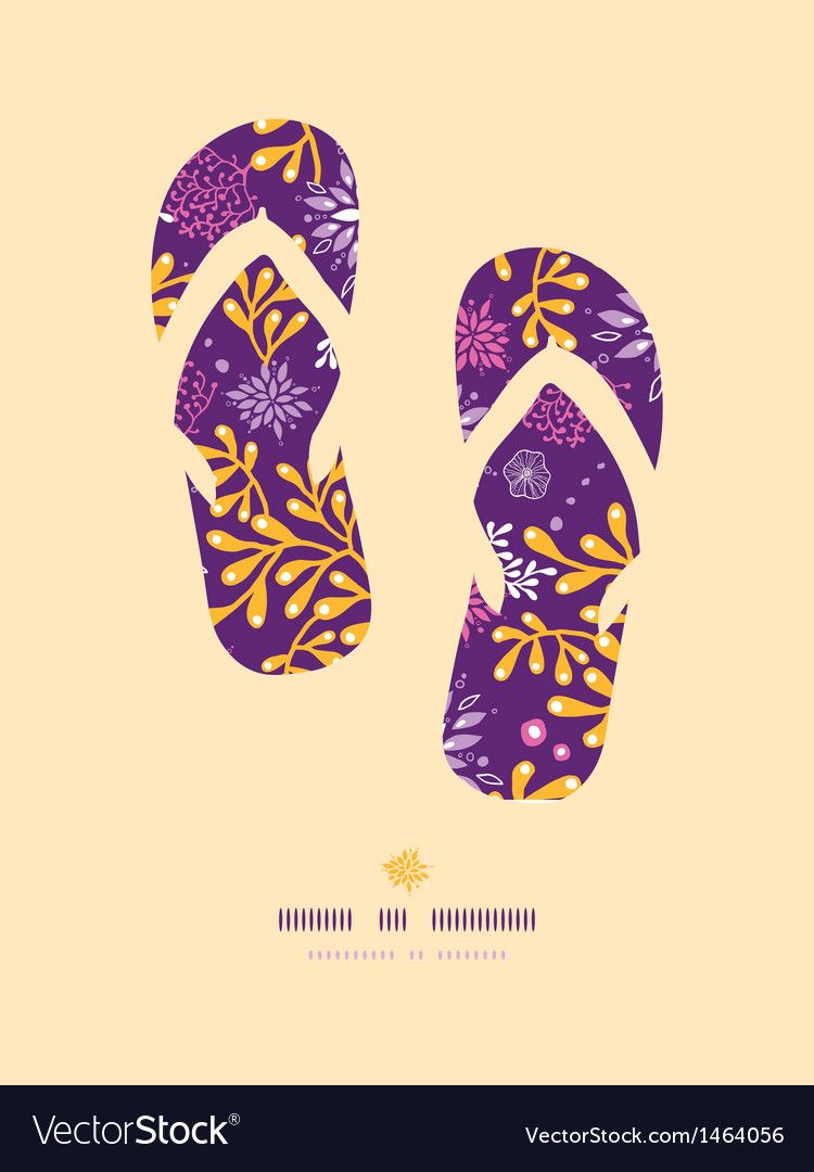 Purple and gold underwater plants flip flops vector | Price: 1 Credit (USD $1)