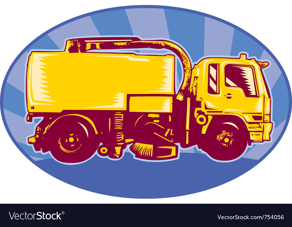 Street cleaner sweeper truck viewed side view vector | Price: 1 Credit (USD $1)