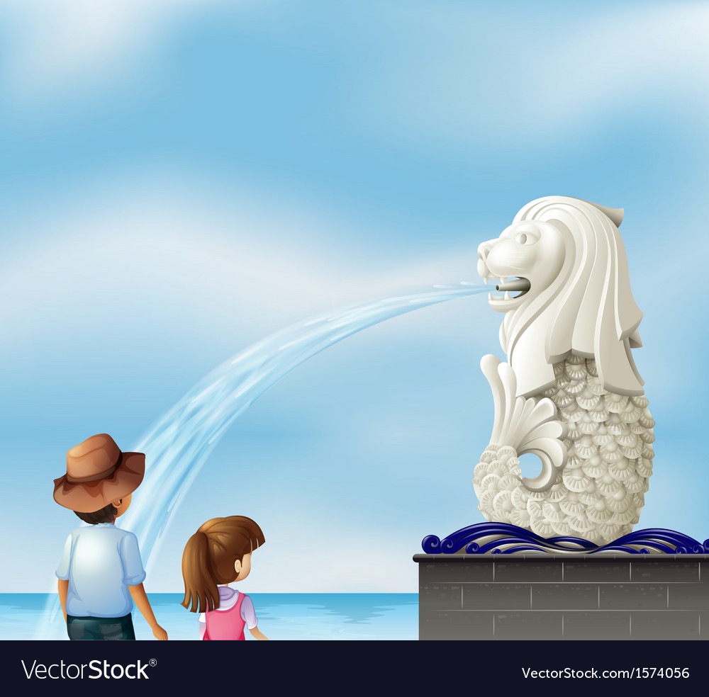 Two kids near the statue of merlion vector | Price: 3 Credit (USD $3)