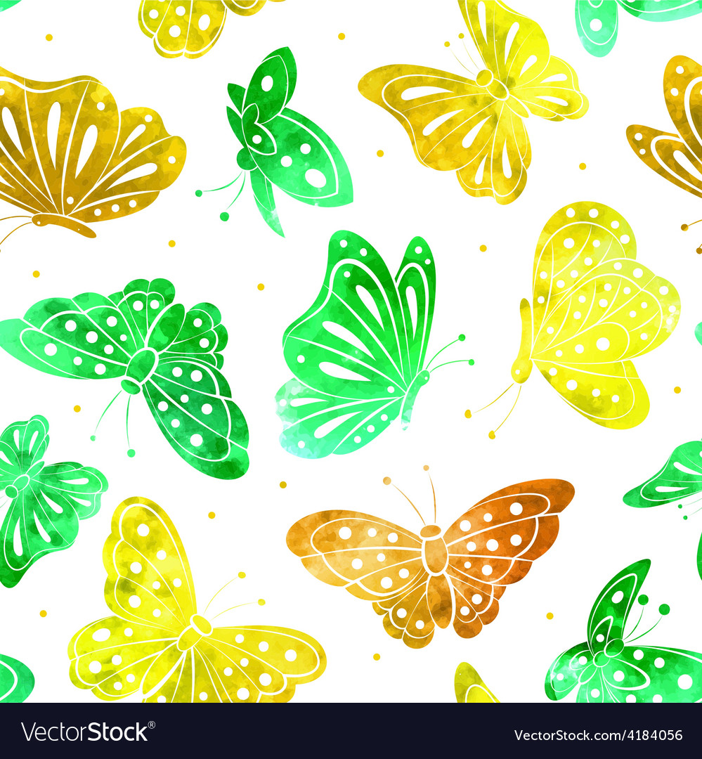 Watercolor vintage butterfly seamless pattern vector | Price: 1 Credit (USD $1)
