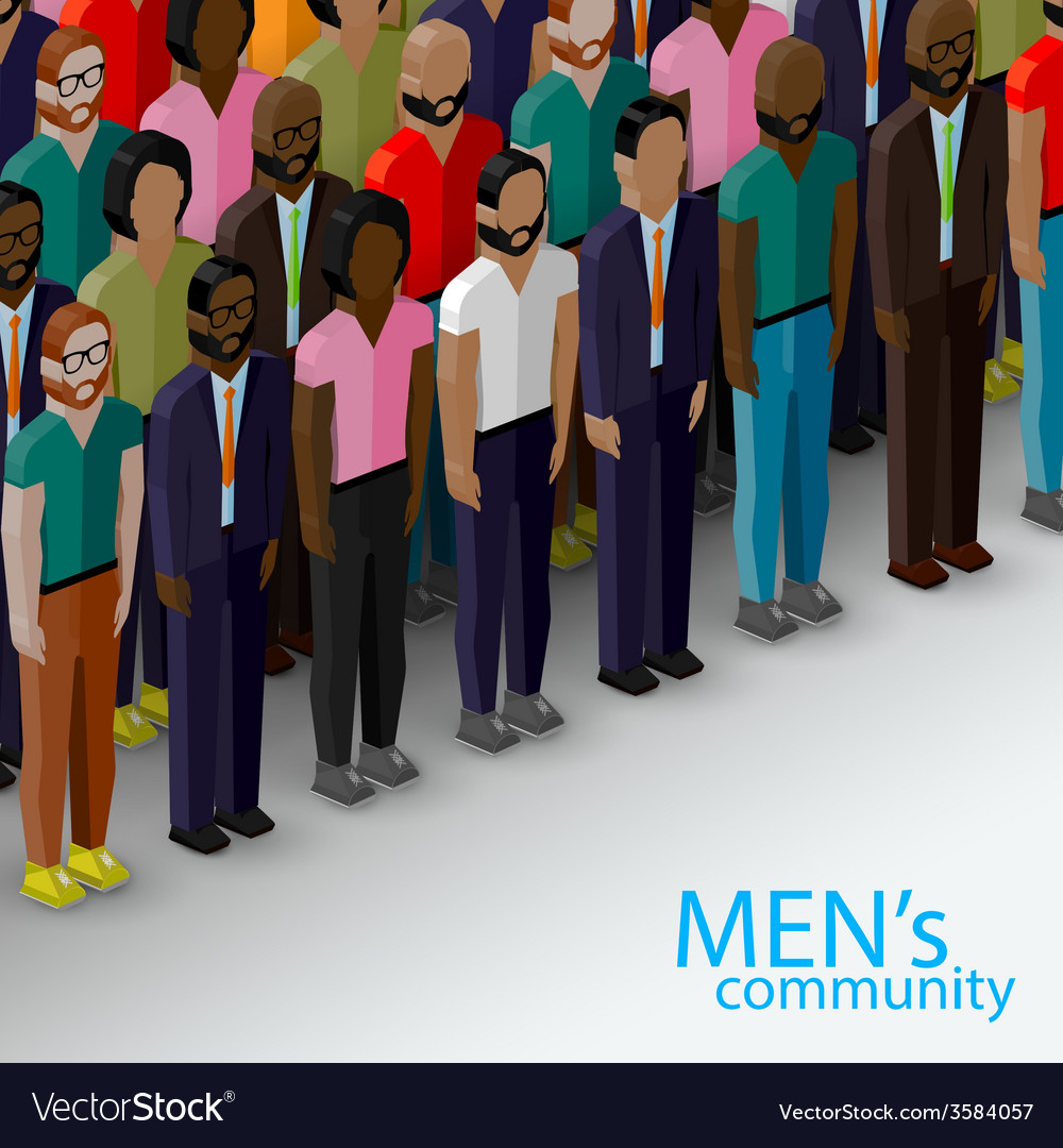 3d isometric of male community with a large group vector | Price: 1 Credit (USD $1)