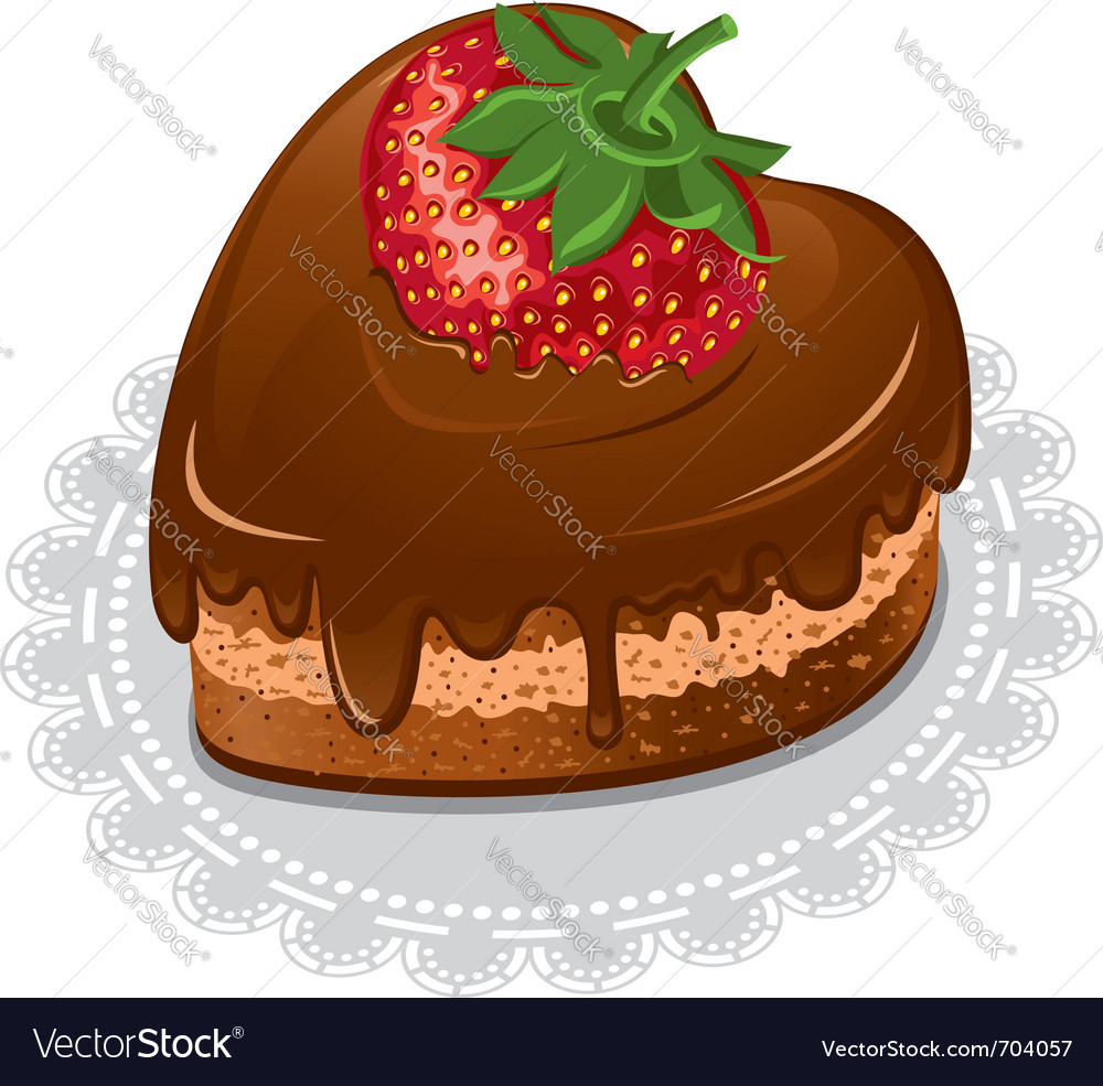Chocolate cake in the shape of the heart vector | Price: 3 Credit (USD $3)