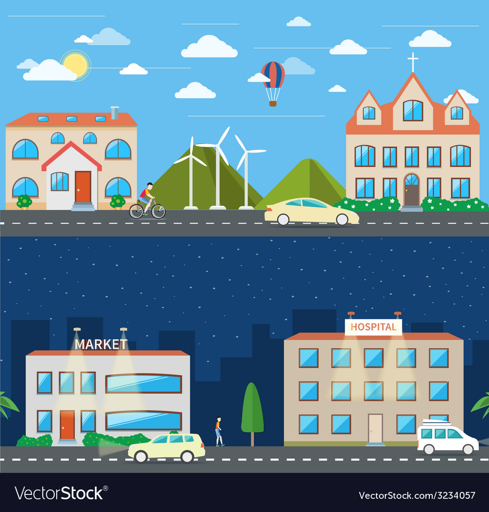 City scene in day and night vector | Price: 1 Credit (USD $1)