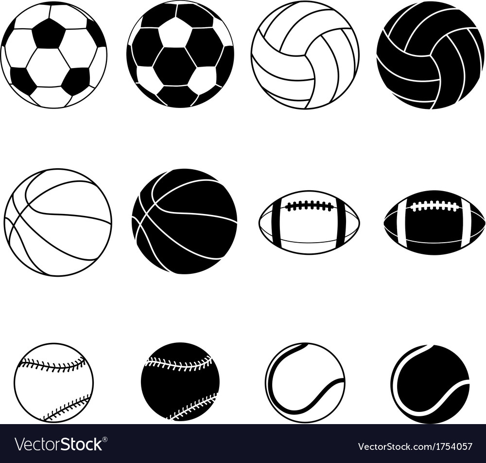 Collection of sports balls vector | Price: 1 Credit (USD $1)