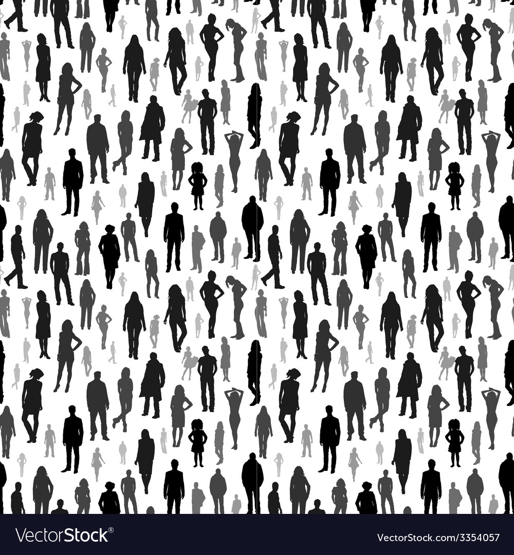 Large group of people seamless pattern vector | Price: 1 Credit (USD $1)