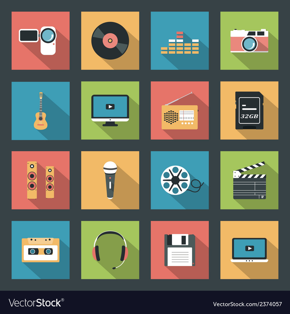 Multimedia icons set vector | Price: 1 Credit (USD $1)