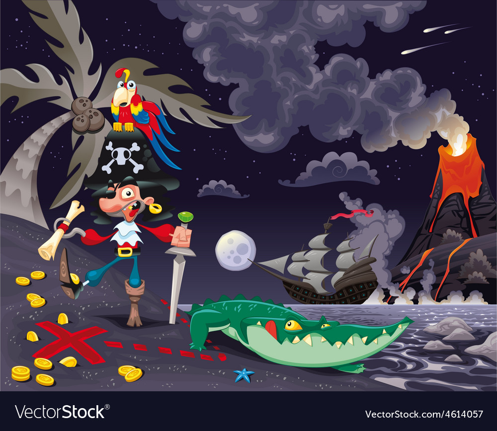 Pirate on the island in the night vector | Price: 5 Credit (USD $5)