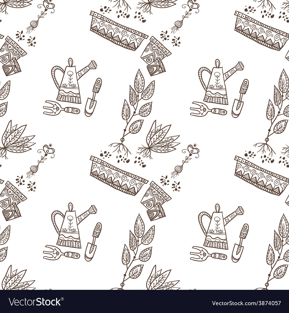 Planting seamless pattern vector | Price: 1 Credit (USD $1)