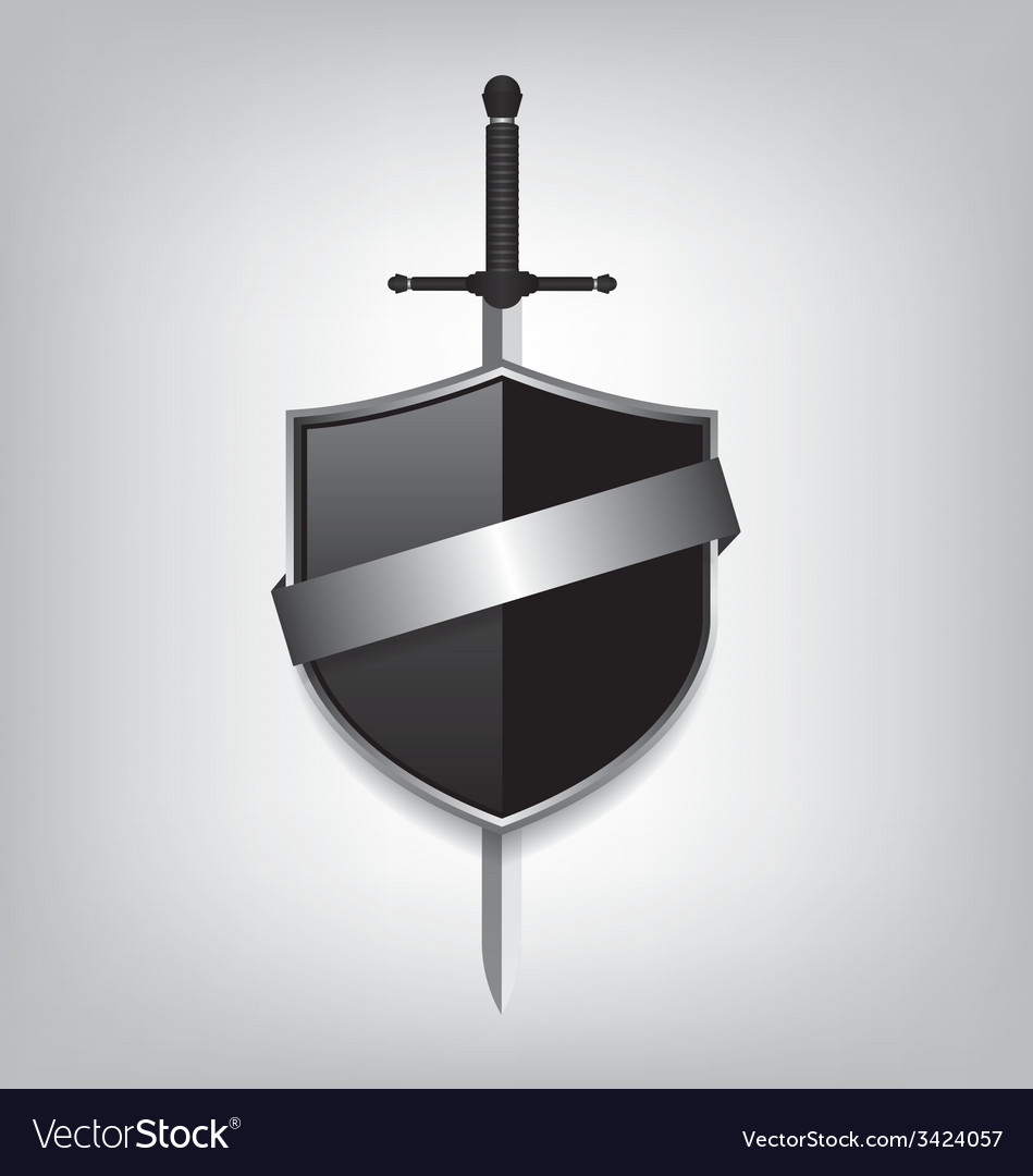 Sword and black shield vector | Price: 1 Credit (USD $1)