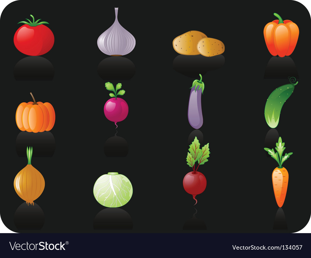 Vegetables black background vector | Price: 1 Credit (USD $1)