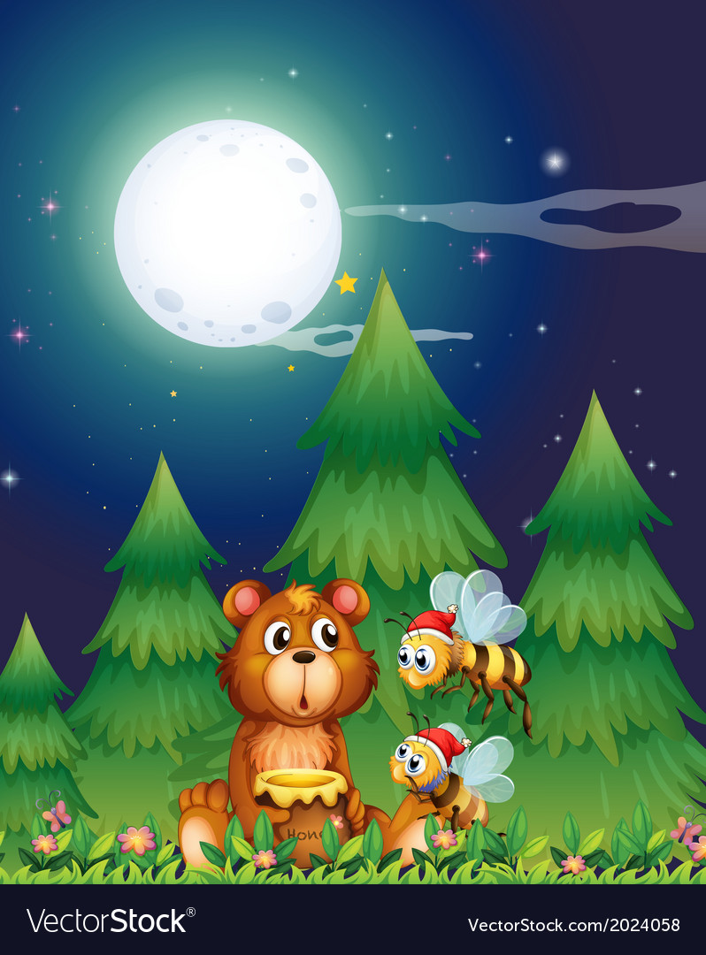 A bear near the pine trees with santa bees vector | Price: 3 Credit (USD $3)