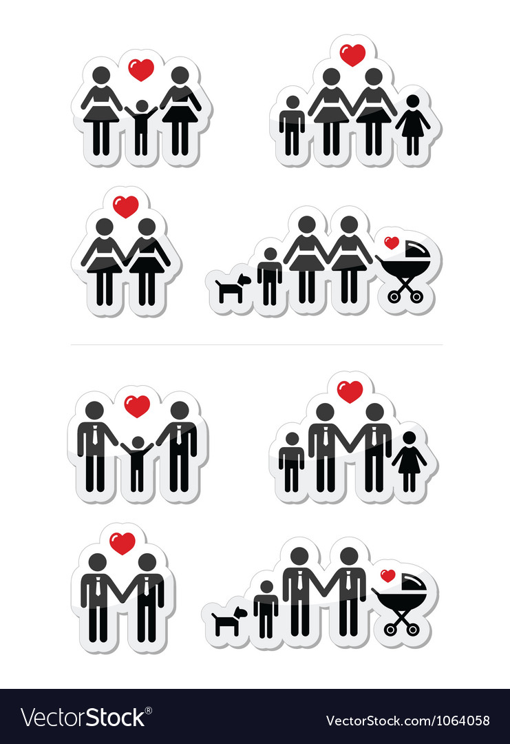 Gay lesbian couples and family children icons vector | Price: 1 Credit (USD $1)