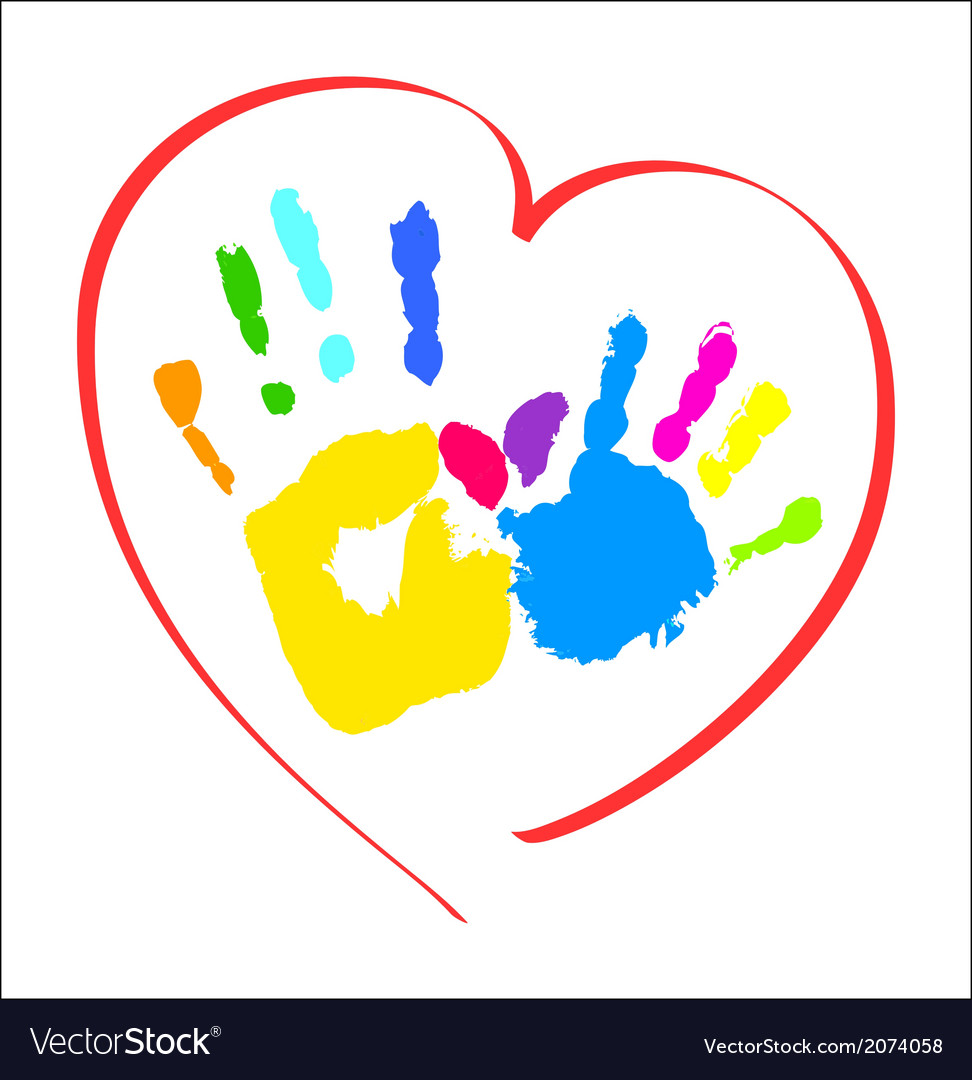 Mothers and kids hands in a heart vector | Price: 1 Credit (USD $1)