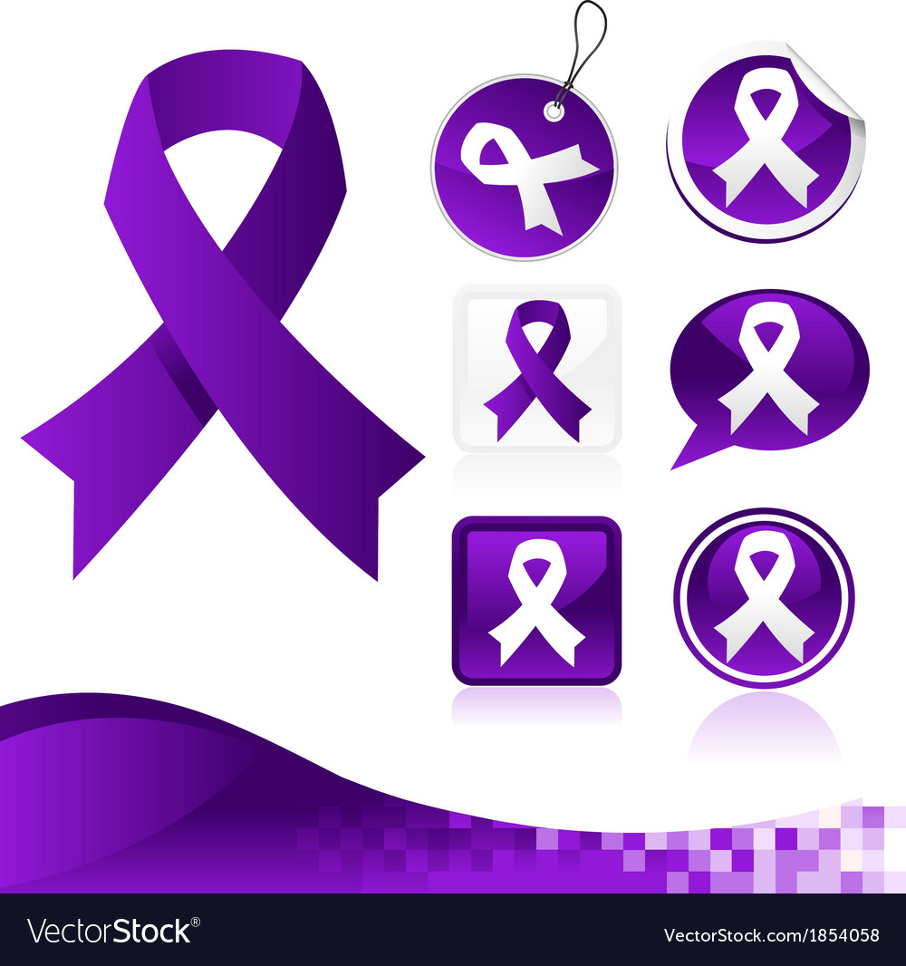 Purple awareness ribbons kit vector | Price: 1 Credit (USD $1)