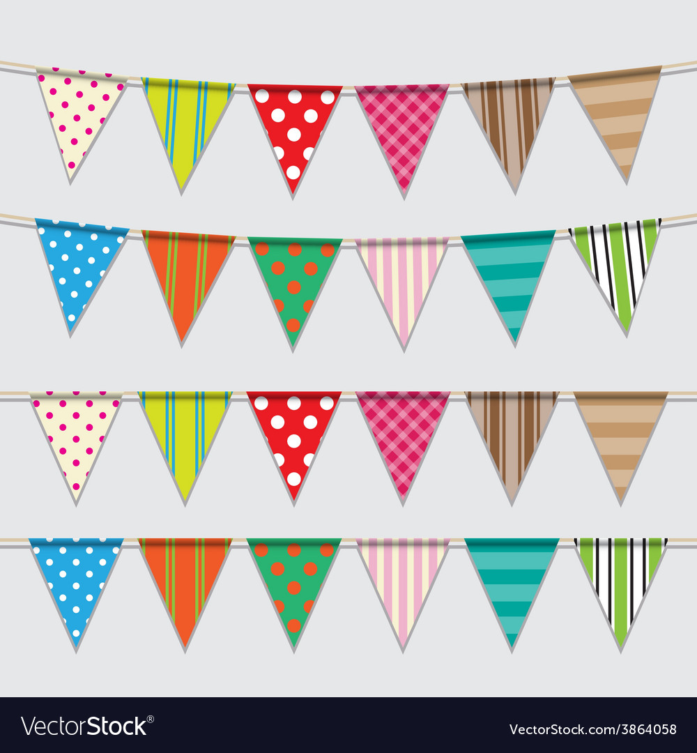 Set of colorful and bright bunting vector | Price: 1 Credit (USD $1)