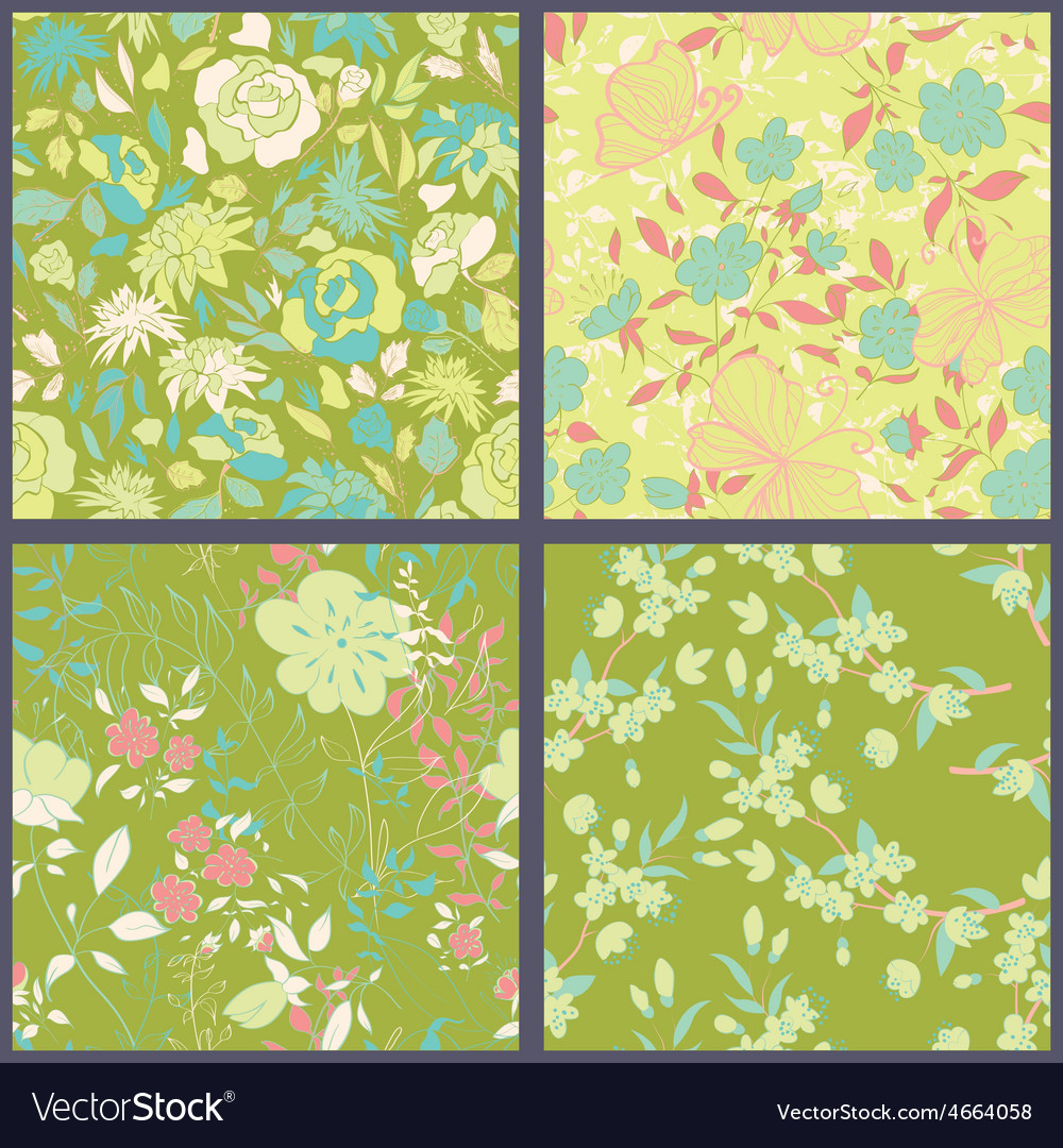 Set of floral seamles patterns vector | Price: 1 Credit (USD $1)