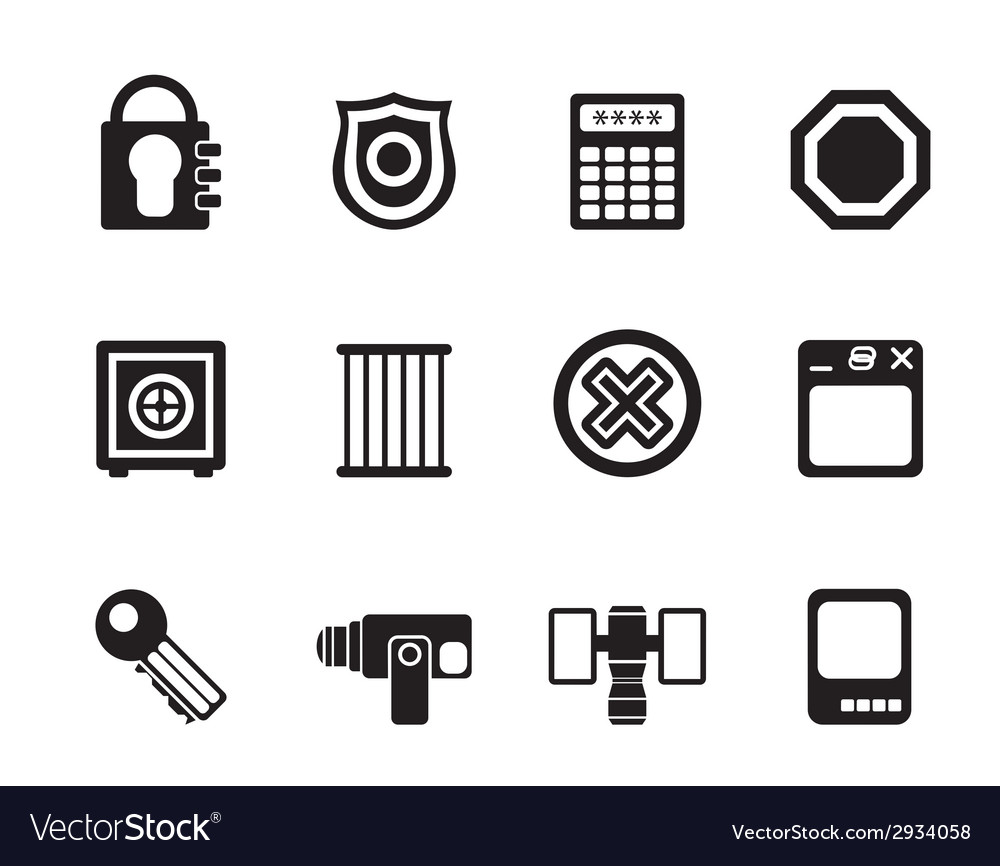 Silhouette security and business icons vector | Price: 1 Credit (USD $1)