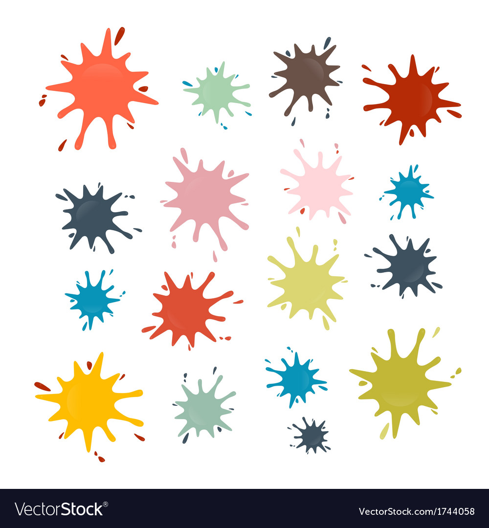 Stains splashes blots in retro colors vector | Price: 1 Credit (USD $1)