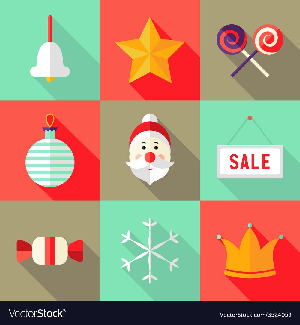 9 christmas flat icons set 1 vector | Price: 1 Credit (USD $1)