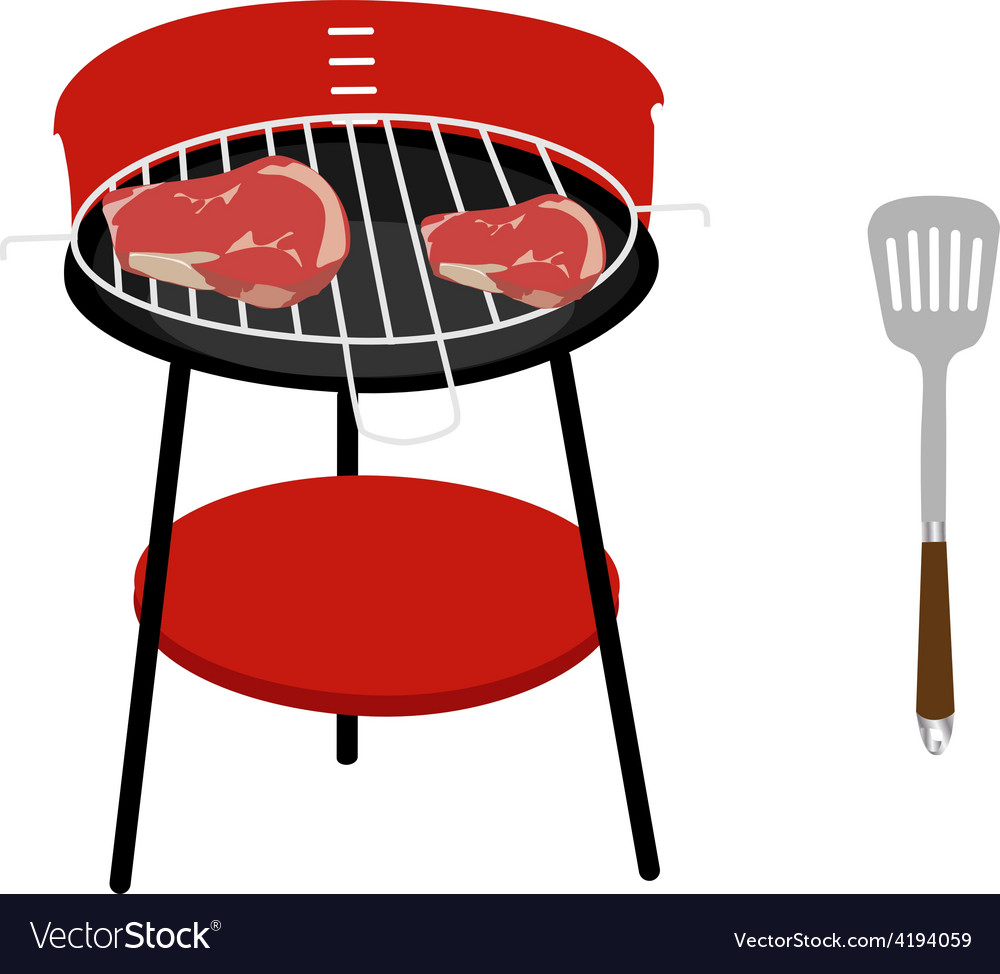 Barbeceu grill steaks and spatula vector | Price: 1 Credit (USD $1)